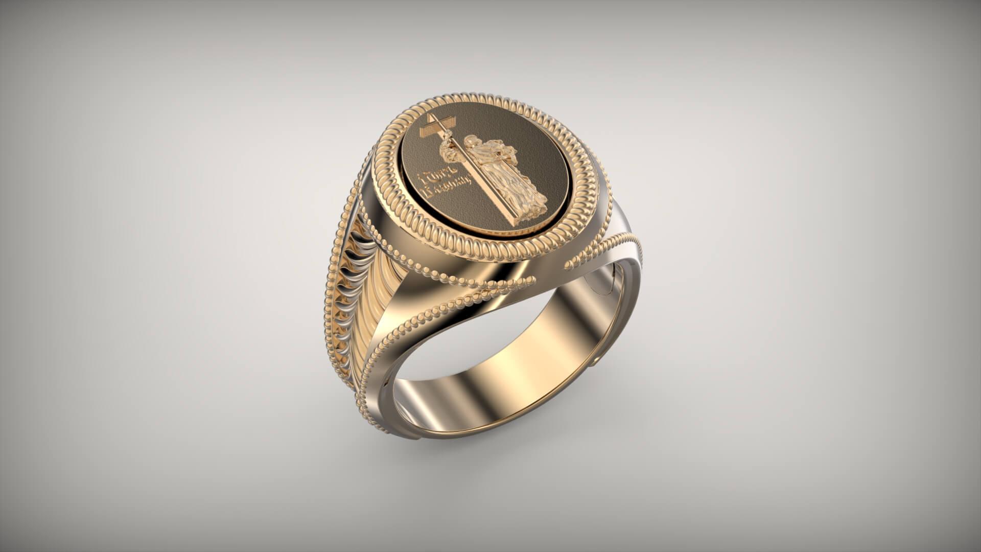 Мужской перстень Святой Владимир