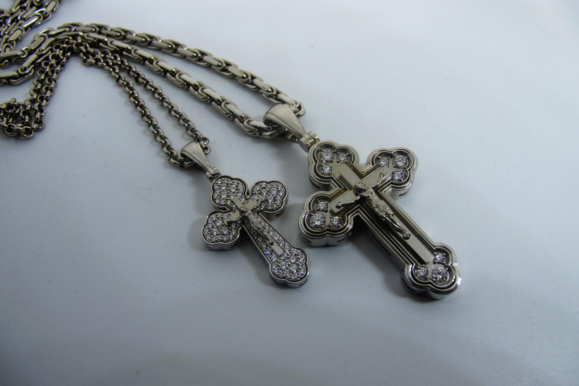 Кресты из белого золота