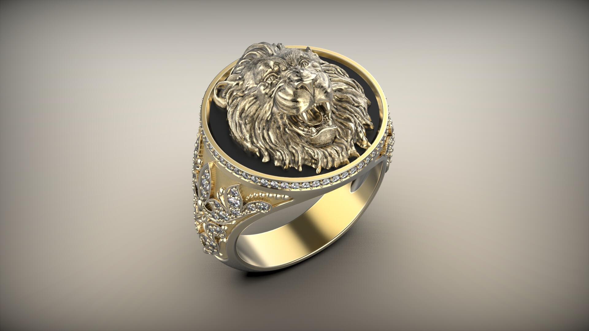 Мужской перстень золотой лев
