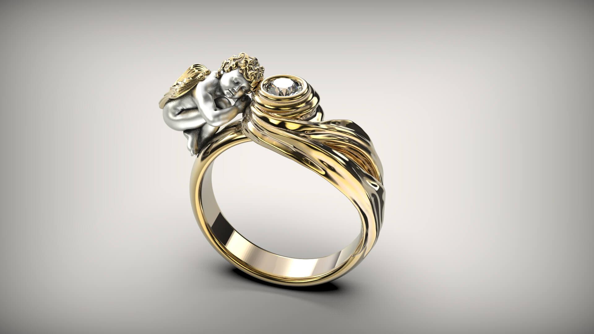 Женское кольцо с ангелом