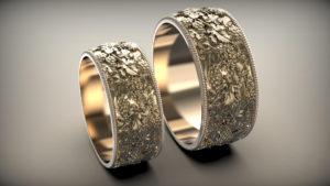 Венчальные кольца Виноградная лоза