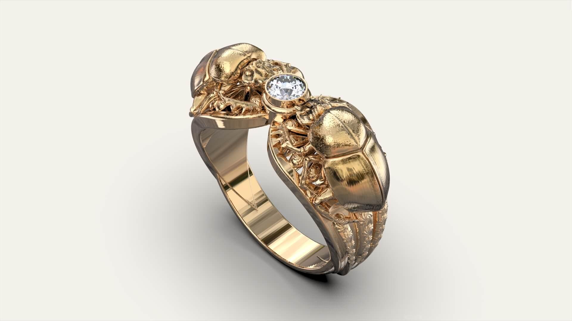 Женское кольцо скарабей