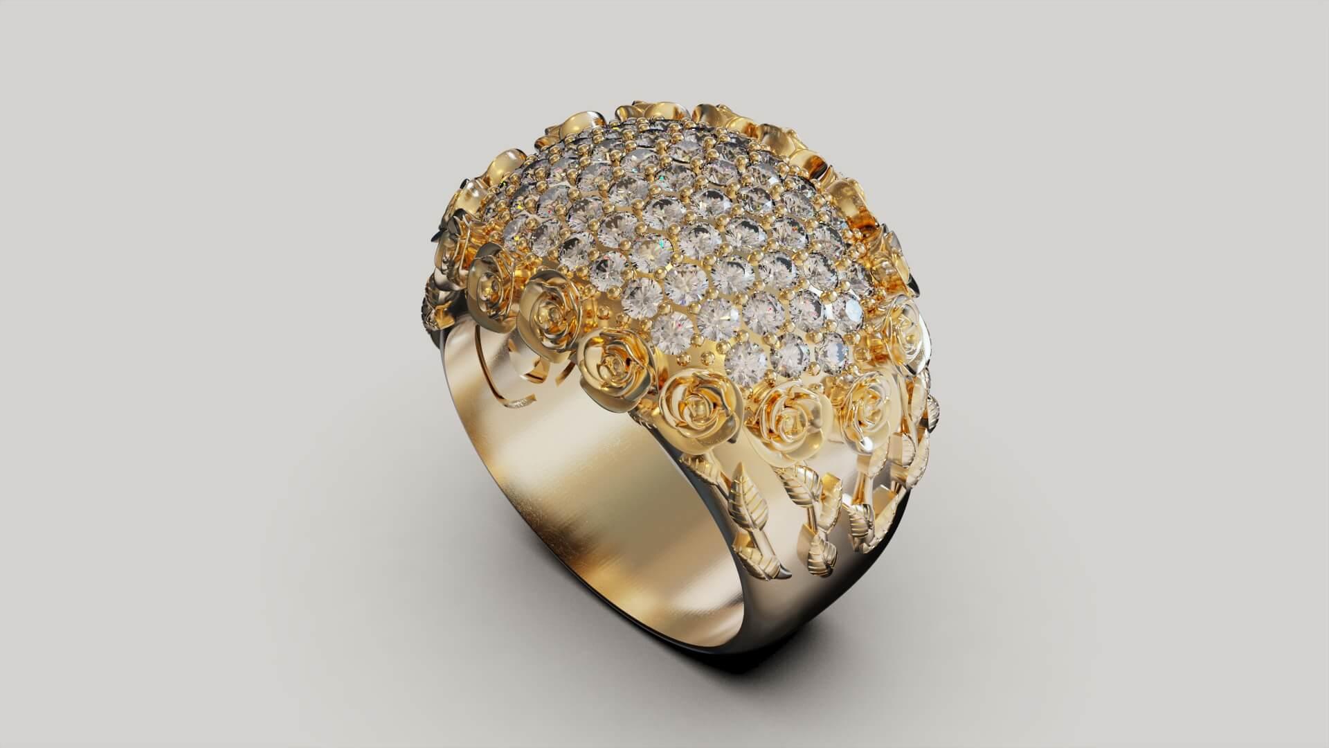 Женское кольцо Россыпь роз