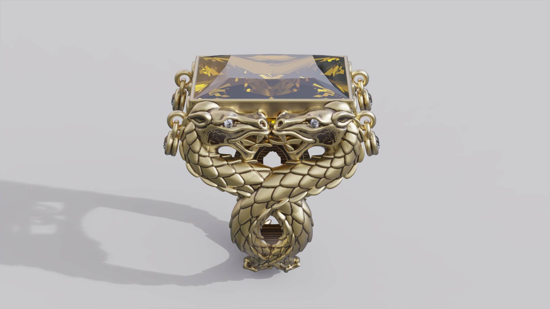 Женское кольцо дракон