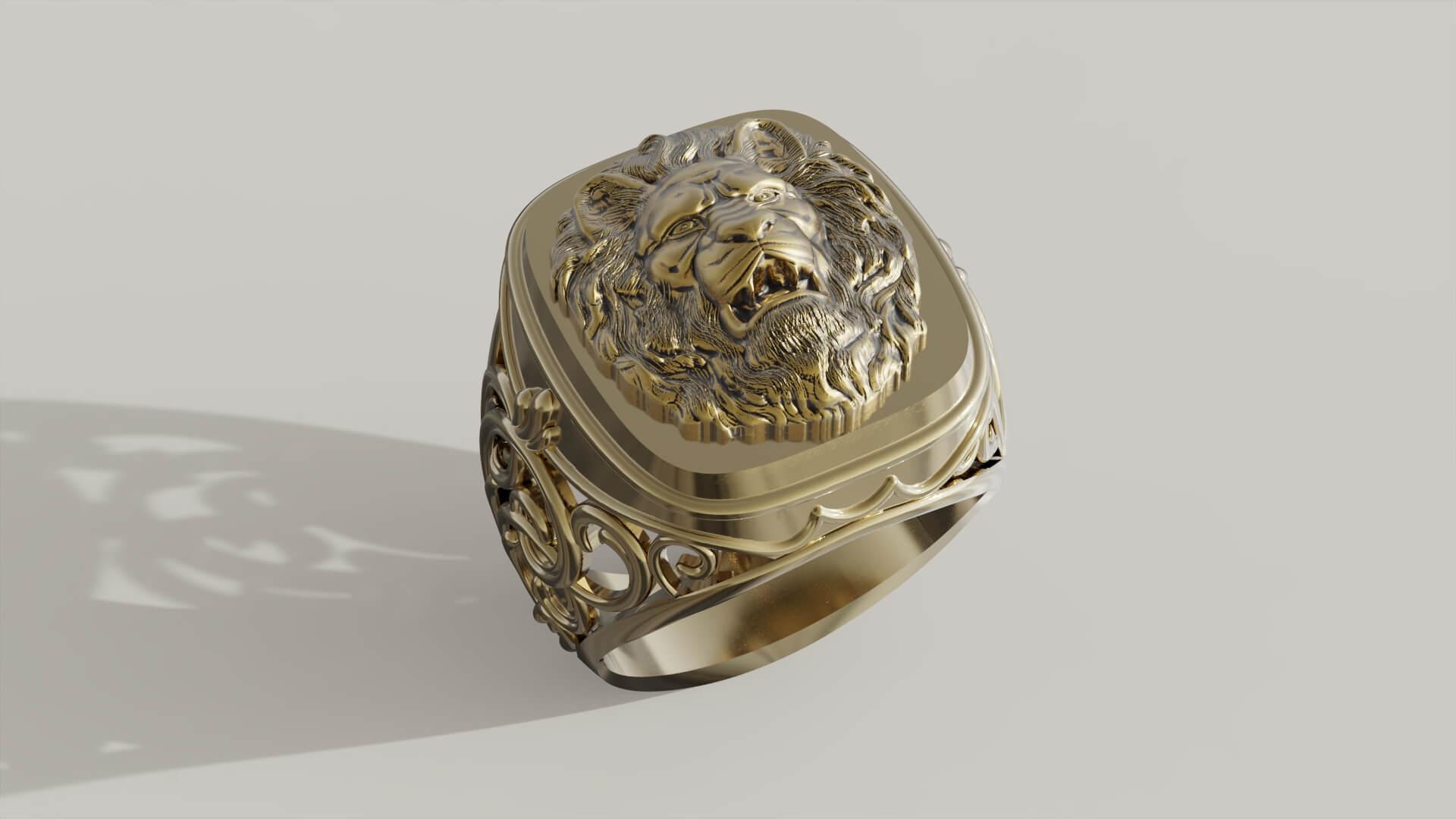 мужской перстень король прайда