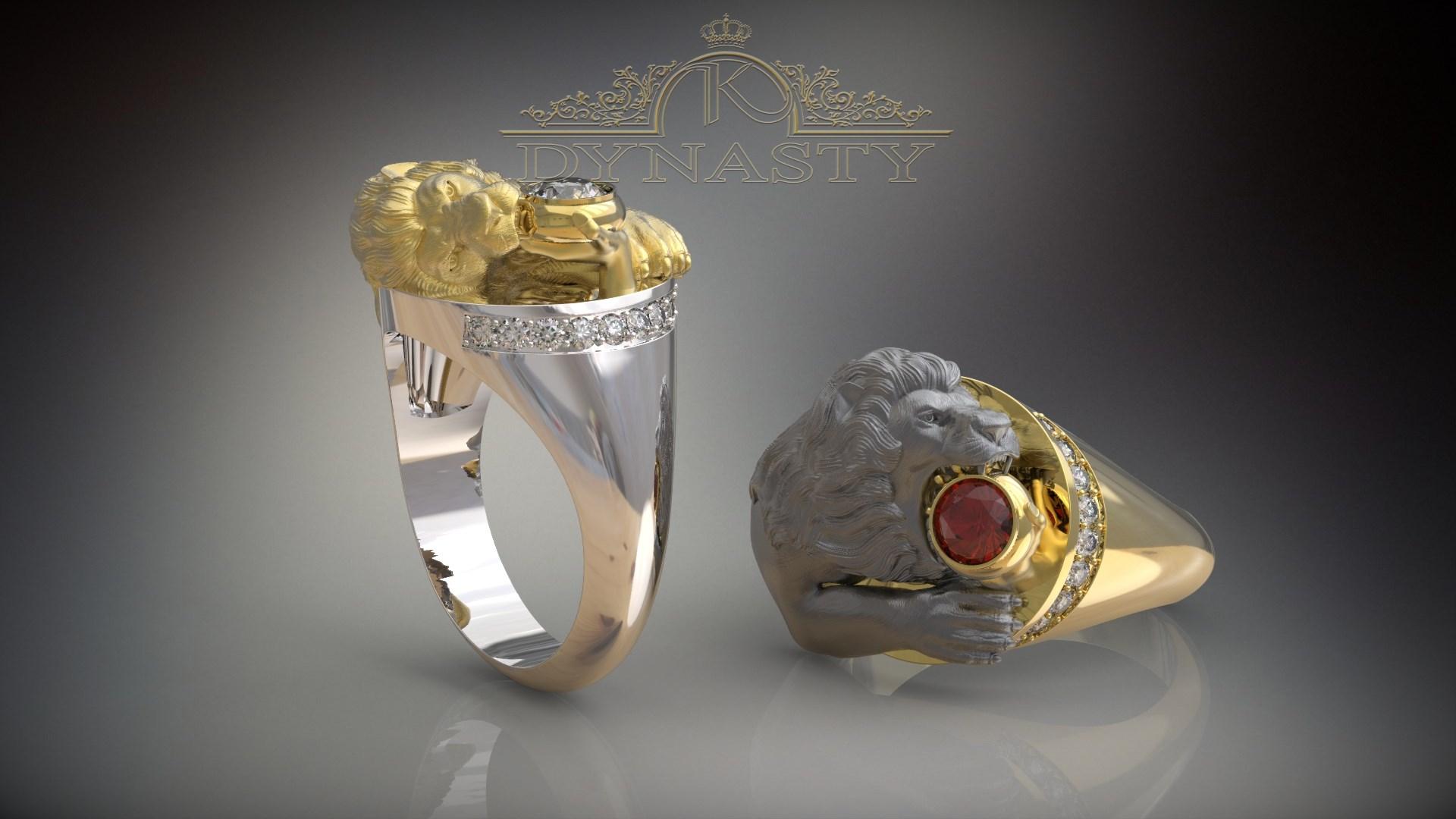 Мужской перстень Лев