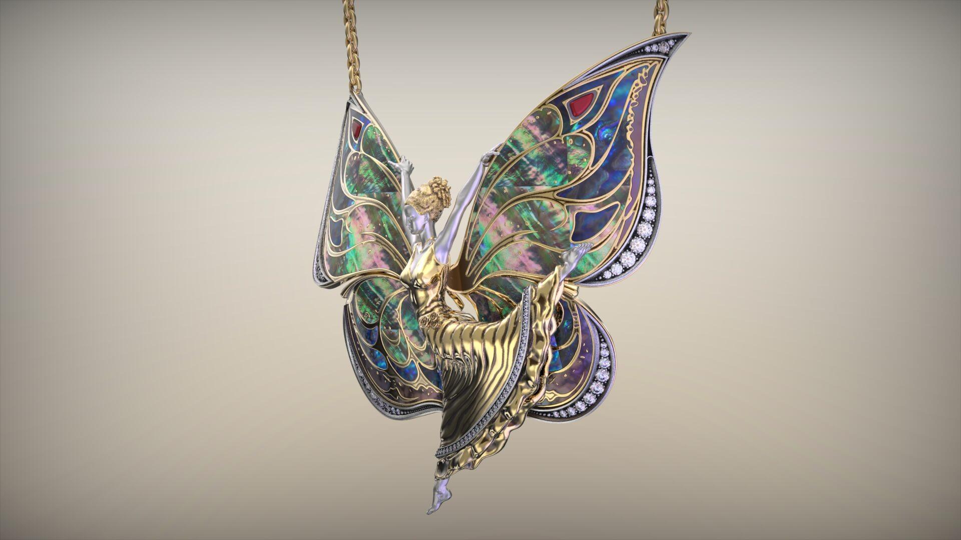 Золотая подвеска бабочка