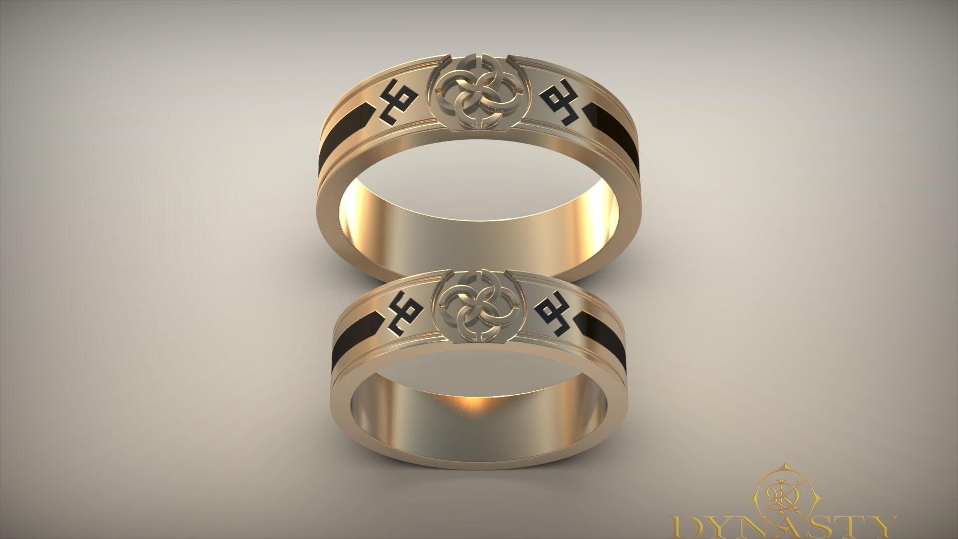 Обручальные кольца горячая эмаль