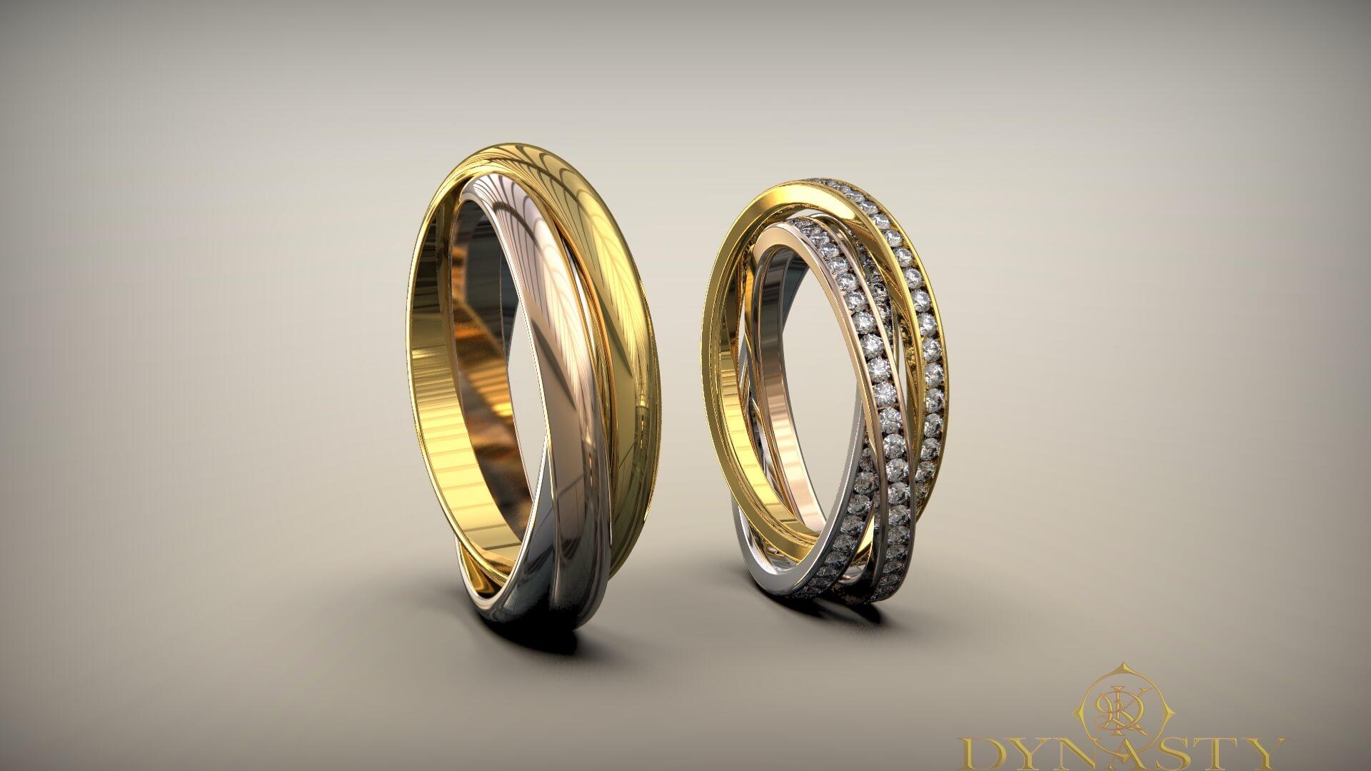 Обручальные кольца три нити