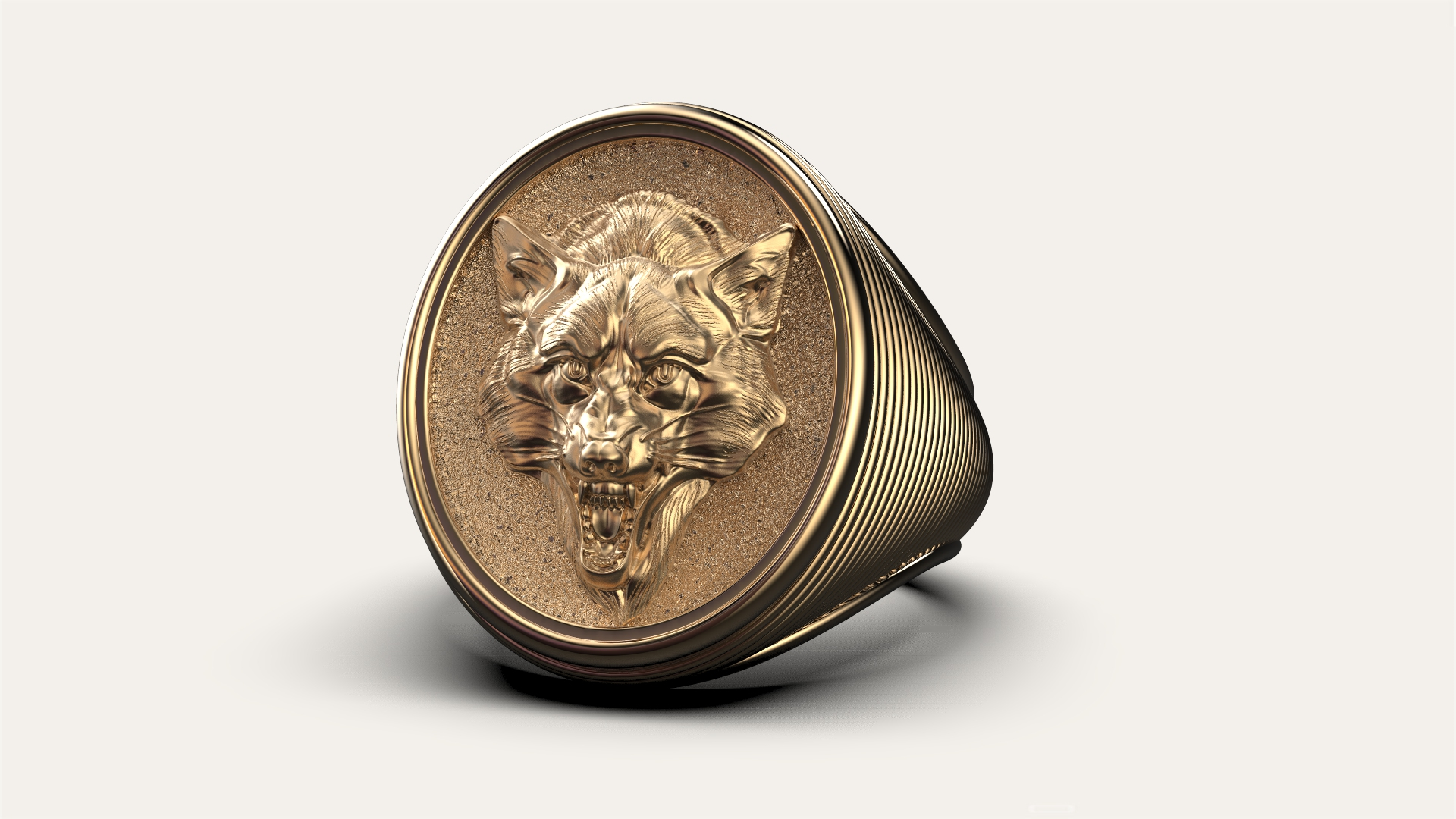 Мужской перстень с волчицей