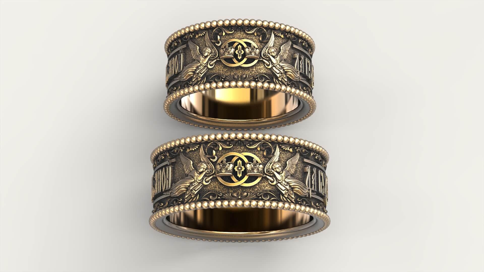 венчальные кольца с выгравированной молитвой