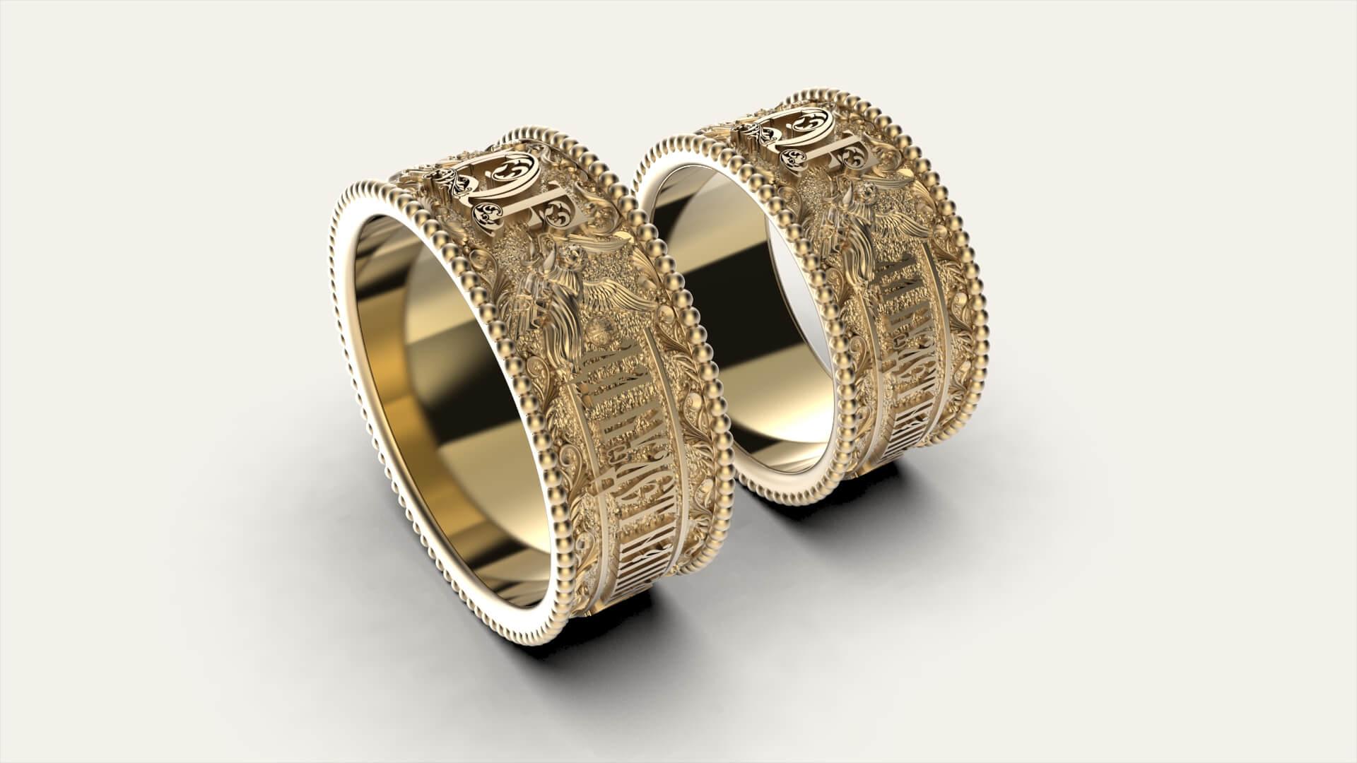 венчальные кольца с нанесением монограммы