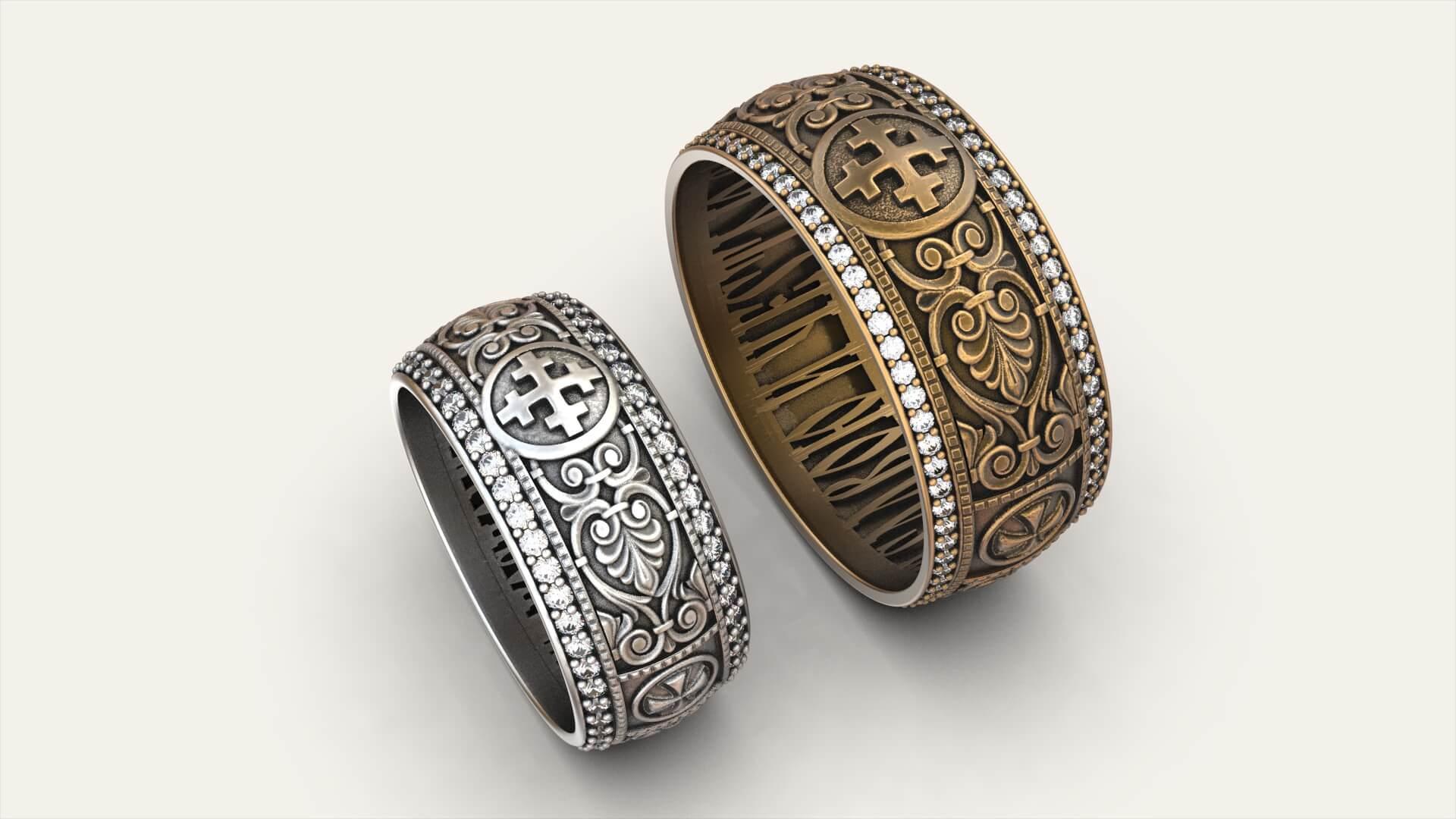 Венчальные кольца «Луна и Солнце»
