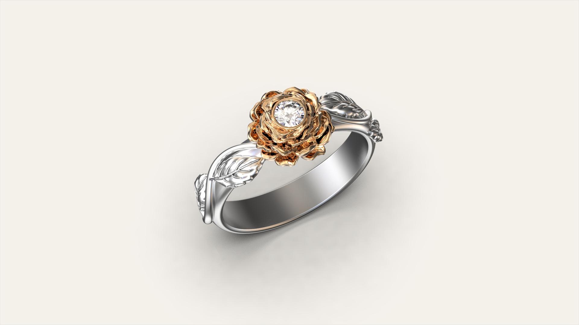 Кольцо для помолвки «Роза»