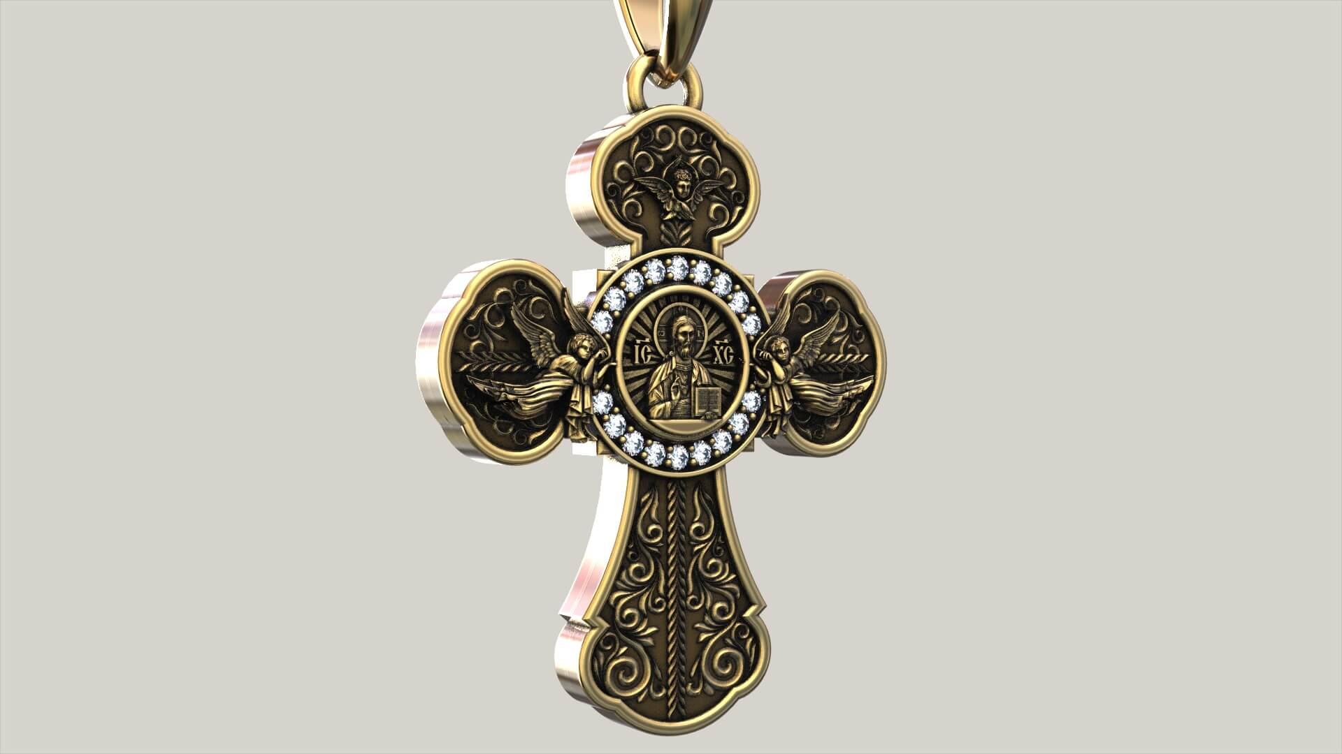 Мужской крест «Да воскреснет Бог»