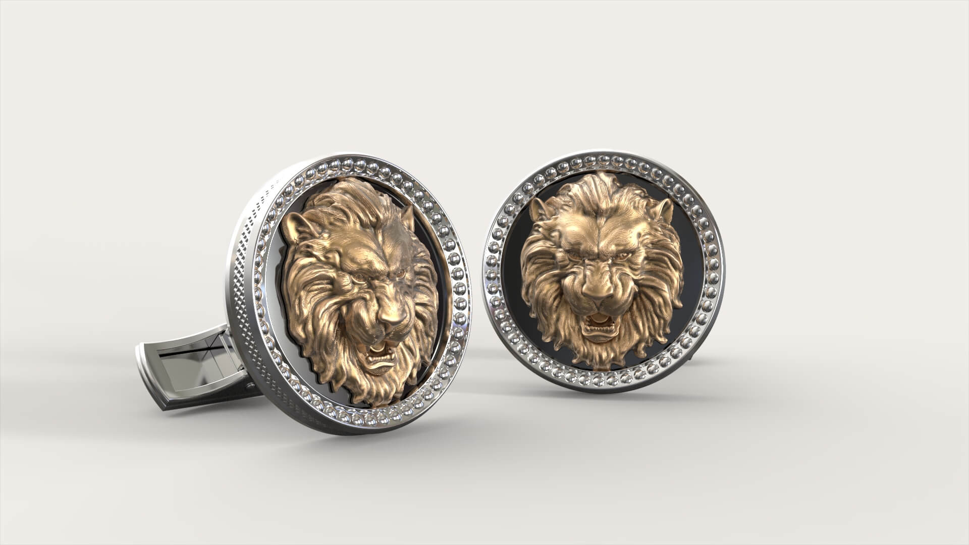 Мужские запонки с изображением льва